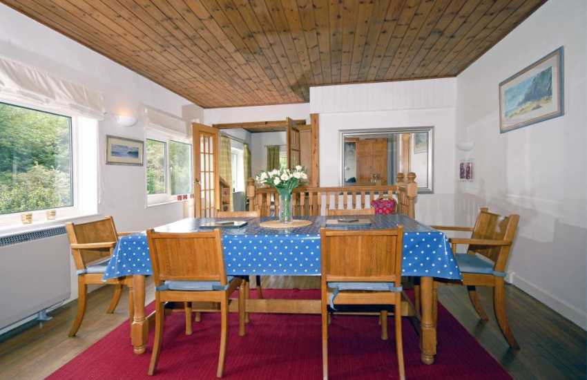 Open plan dining area at River Cottage, Solva