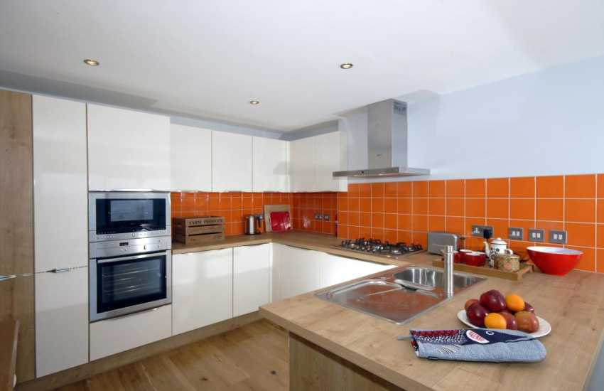 Self-catering Tenby - modern open plan kitchen area
