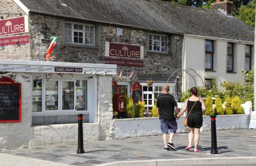Castle Square, Laugharne has a choice of restaurants, cafes and a very good fish and chip shop!