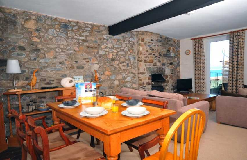Spacious lounge and dining area in Criccieth town house with Balcony