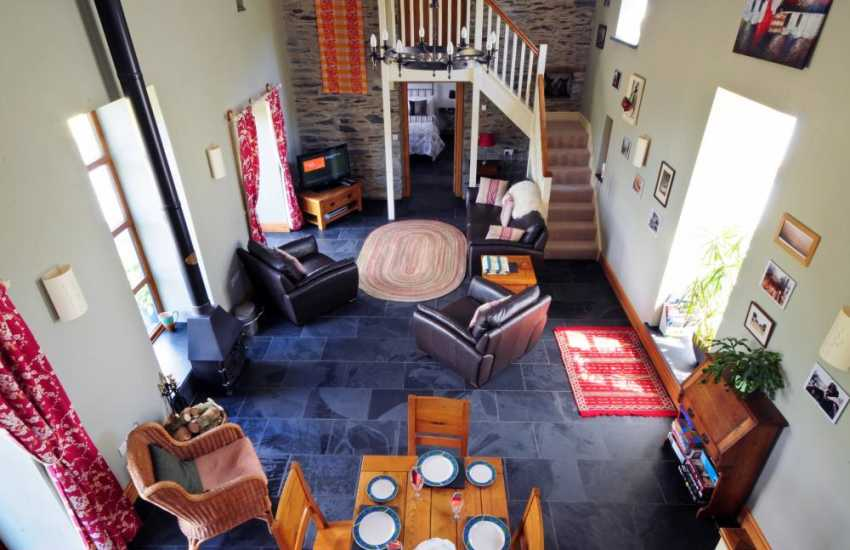 Spacious lounge in holiday cottage with magnificent views