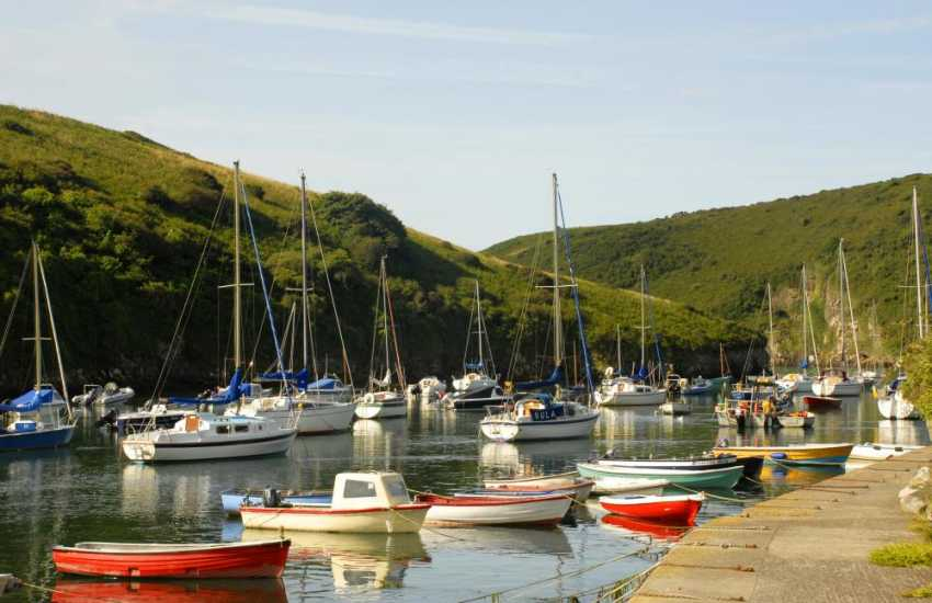 Solva Harbour - walk along the tow path at high tide to the cafe at the Sailing Club