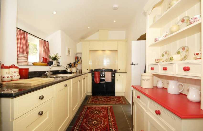 Self-catering cottage by the sea - modern kitchen with range gas cooker