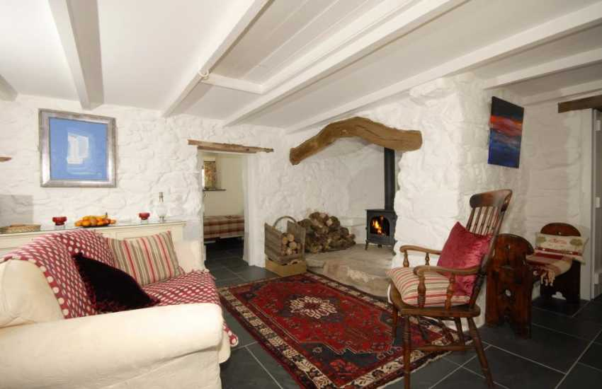 Cottage for holidays in North Pembrokeshire - snug with iglenook and wood burning stove
