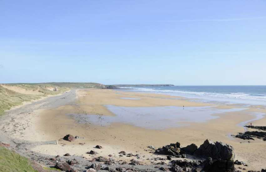 Freshwater West - a wide sandy beach very popular with surfers and water sport enthusiasts