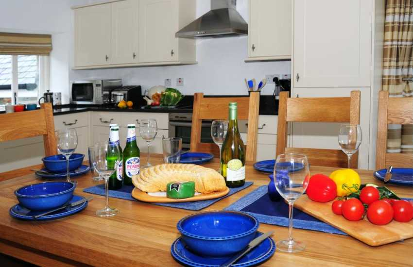 Open plan kitchen/diner on ground floor in cottage near newborough Sands