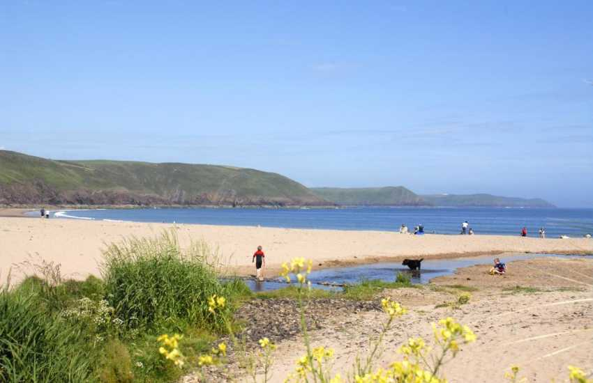 Freshwater East is a vast expanse of golden sand backed by protected dunes - the perfect place on a warm sunny day