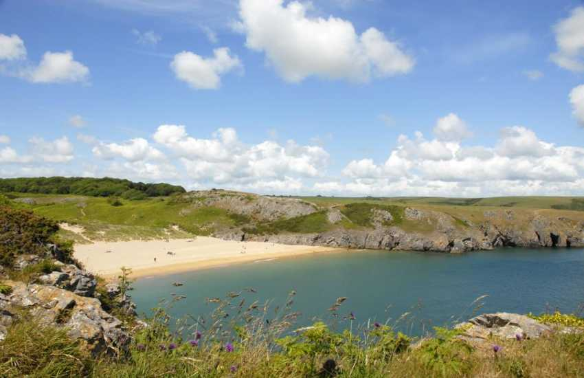Exotic Barafundle (National Trust) - one of Britain's most stunning beaches with swathes of golden sand and crystal clear waters
