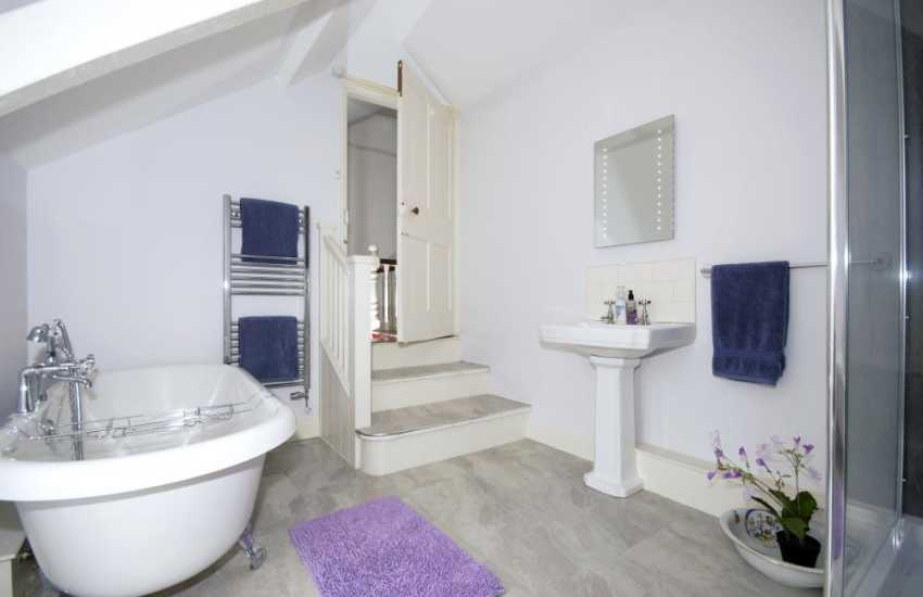 Pembrokeshire holiday home - bath/shower room with steps down from the staircase