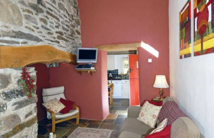 Gwaun Valley cottage with inglenook fire place and log burner