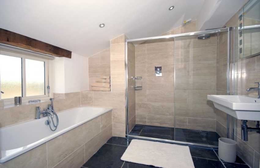 Pembrokeshire holiday cottage -  bathroom with walk in double shower