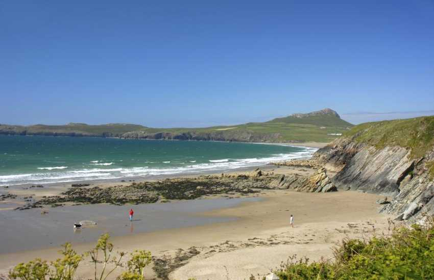 Porthselau Beach is a sheltered sandy cove tucked between St Justinians and Whitesands - only accessible via the coast path