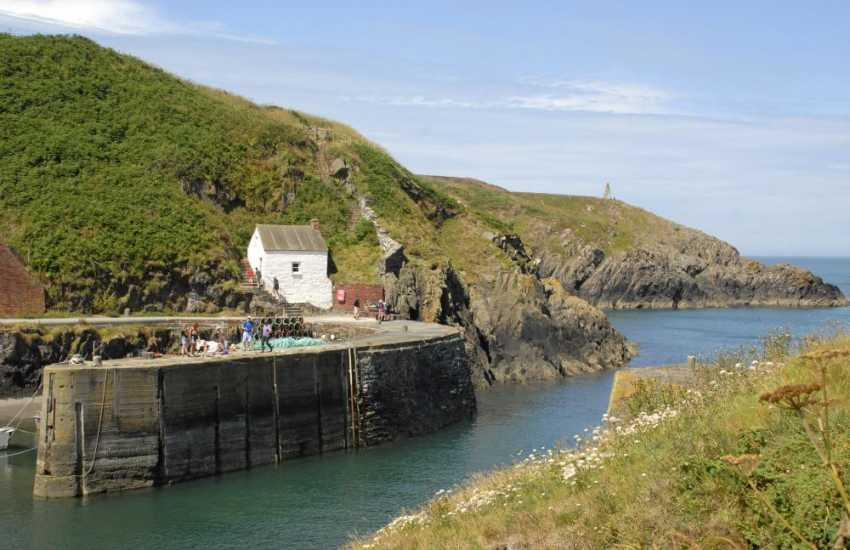 The sheltered little harbour at Porthgain village