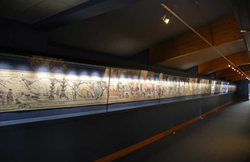 The internationally famous 'Last Invasion Tapestry' hangs in Fishguard's Town Hall - magnificent at 32 metres long!