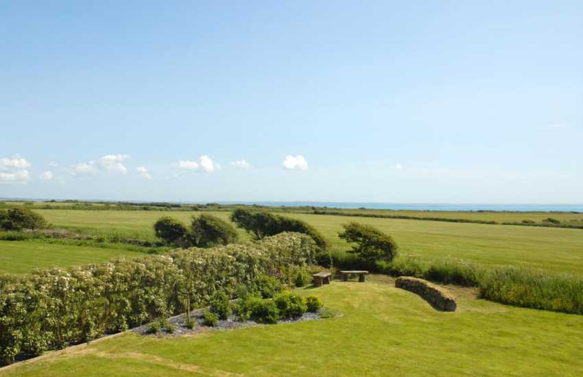 Pembrokeshire stone barn for rent - sea views and gardens