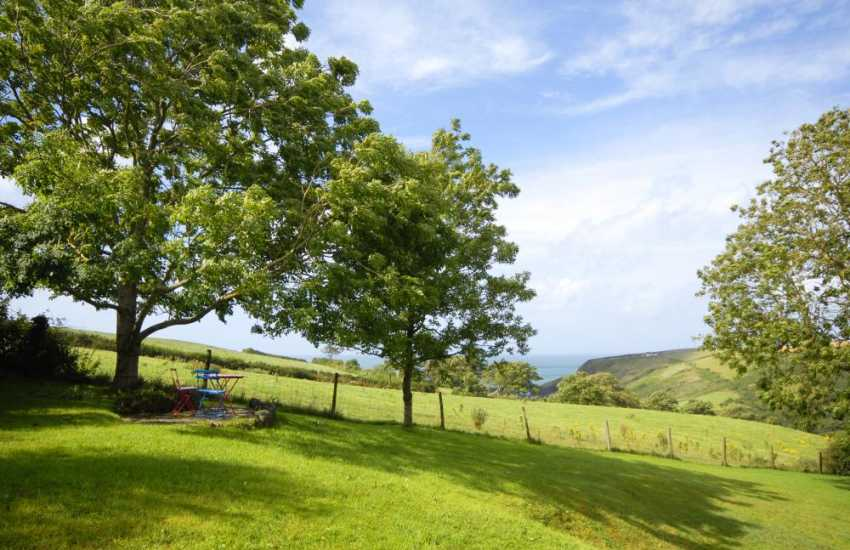 Pembrokeshire holiday cottage - private garden with uninterrupted views to Ceibwr Cove (N.T)