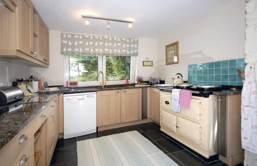 Self-catering luxury holiday cottage near Poppit Sands - kitchen with Aga