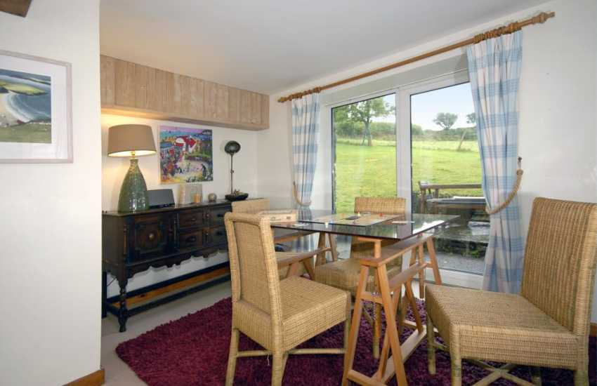 Holiday cottage near St Dogmaels - games room overlooking the gardens