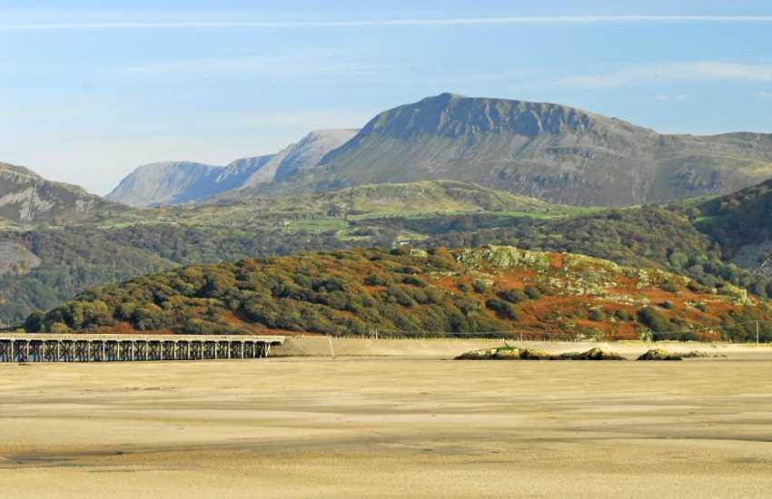 Fairbourne is the nearest beach (dog friendly between Oct and March)