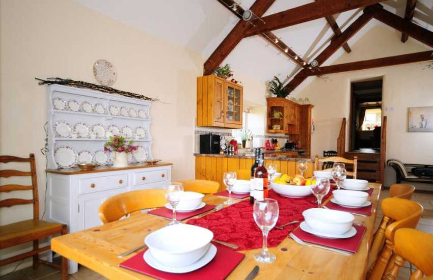 Open plan kitchen in North Wales holiday cottage