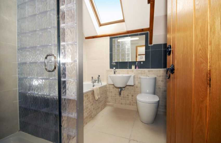 North Pembrokeshire holiday cottage - first floor bathroom with double shower
