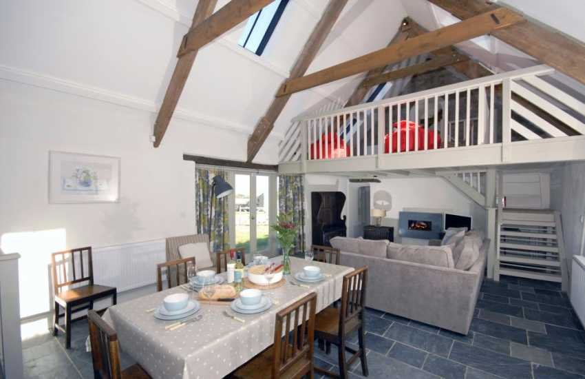 Dale self-catering holiday home - modern open plan living area with galleried landing