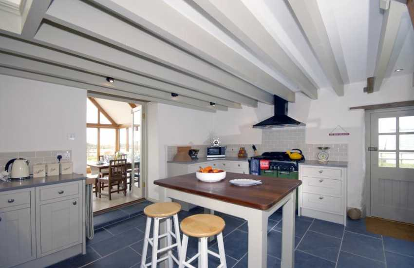 Self-catering converted barn North Pembrokeshire coast - modern kitchen area