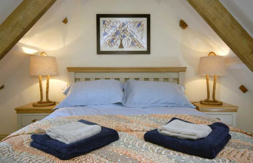 Luxury restored barn near Marloes Sands - cosy master bedroom