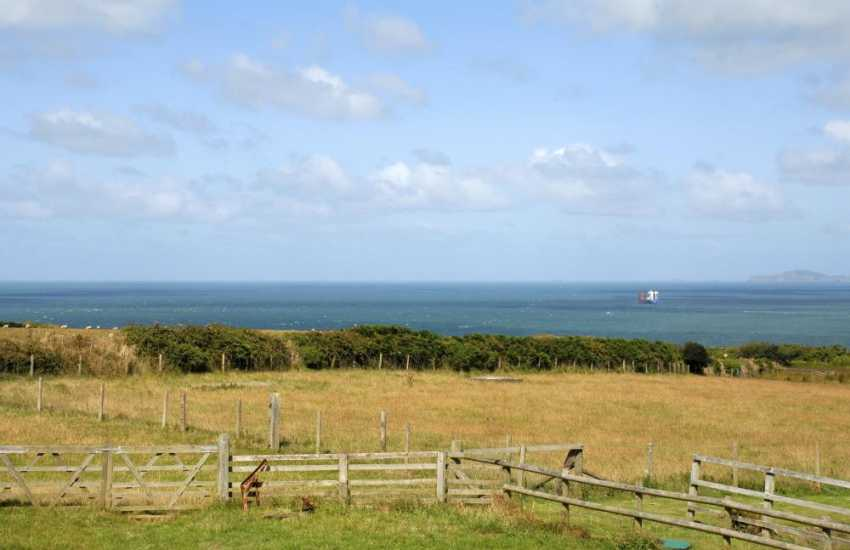 Enjoy lovely Pembrokeshire views over the surrounding countryside to St Brides Bay beyond