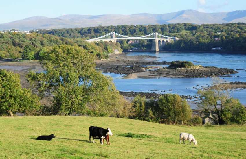 Menai Suspension Bridge and the Snowdonia mountain range
