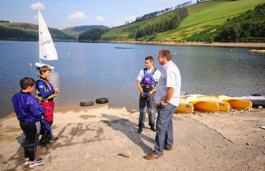 Sailing and fishing at Clewedog near Llanidloes