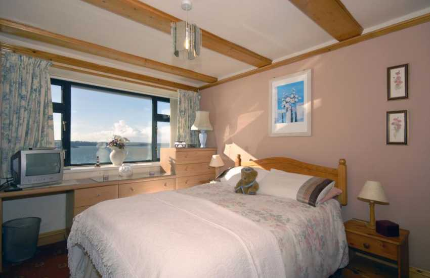 South Pembrokeshire holiday home - double bedroom with river views