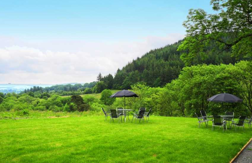 Mid Wales holiday home - garden with views