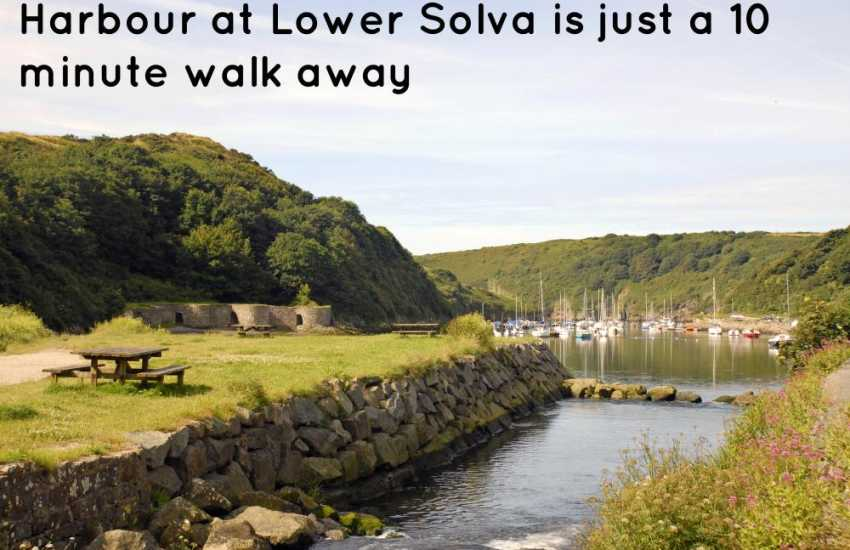 The picturesque harbour at Lower Solva is just a 10 minute walk from the cottage