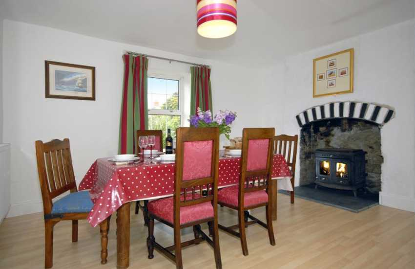 Wales Broad Haven holiday cottage - open plan lounge/diner with wood burning stove
