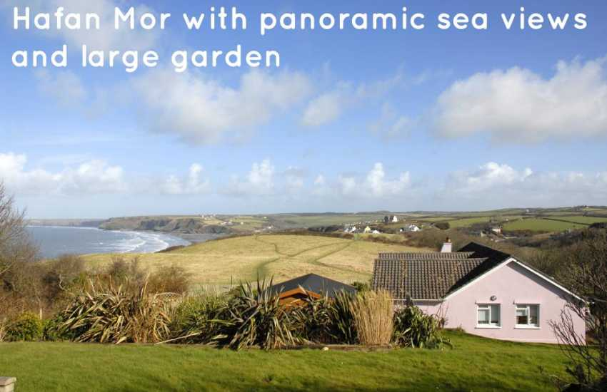 Little Haven holiday home with panoramic sea views and large garden