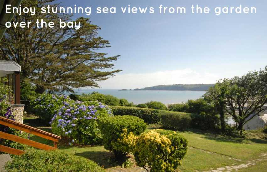 Enjoy stunning sea views from the garden over the bay to Monkstone Point