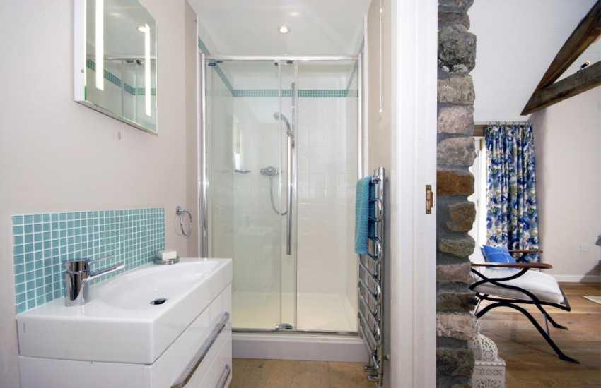North Pembrokeshire coastal holiday home - master en-suite shower