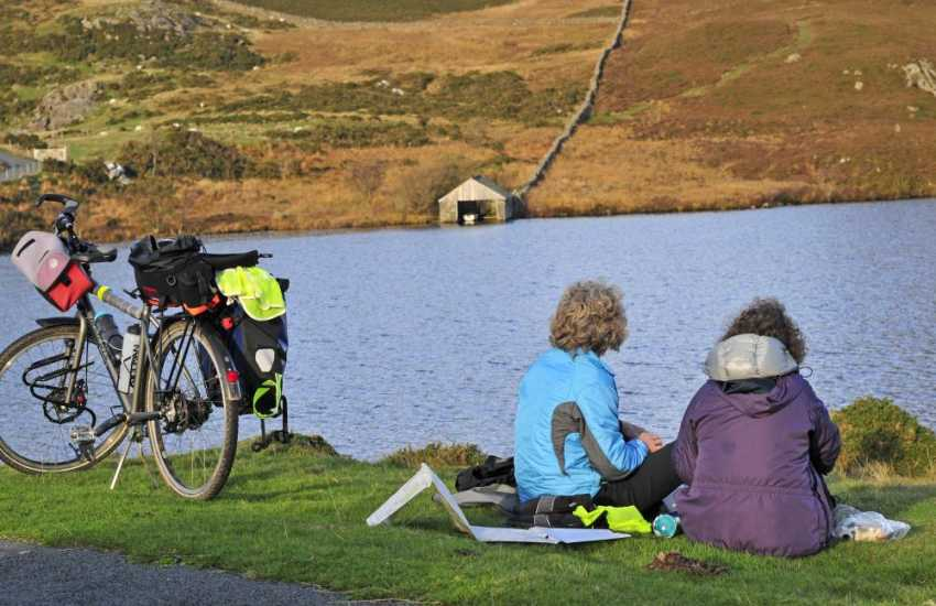 Cycling at Cregennan Lake near Dolgellau