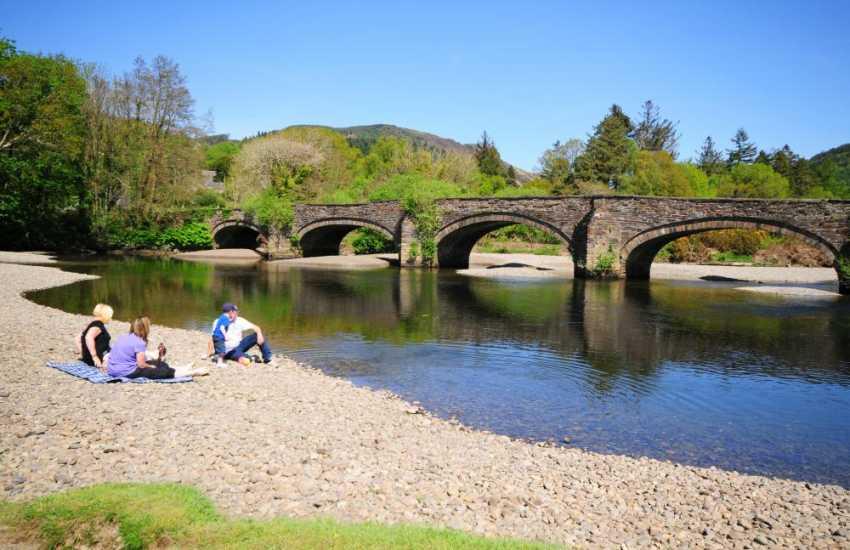 Picnic at the river bridge in Dolgellau