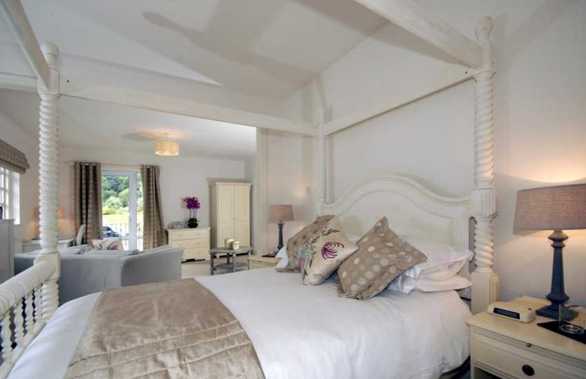 Pembrokeshire holiday house for large parties sleeps 18 adults and 10 children  - double bedroom with sea views