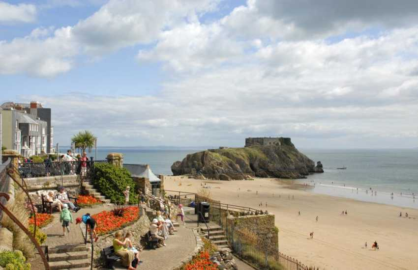 Tenby - a popular seaside resort with a picturesque harbour, cobbled streets, individual  shops, pubs, restaurants and 5 golden sandy beaches (Blue Flag) to choose from