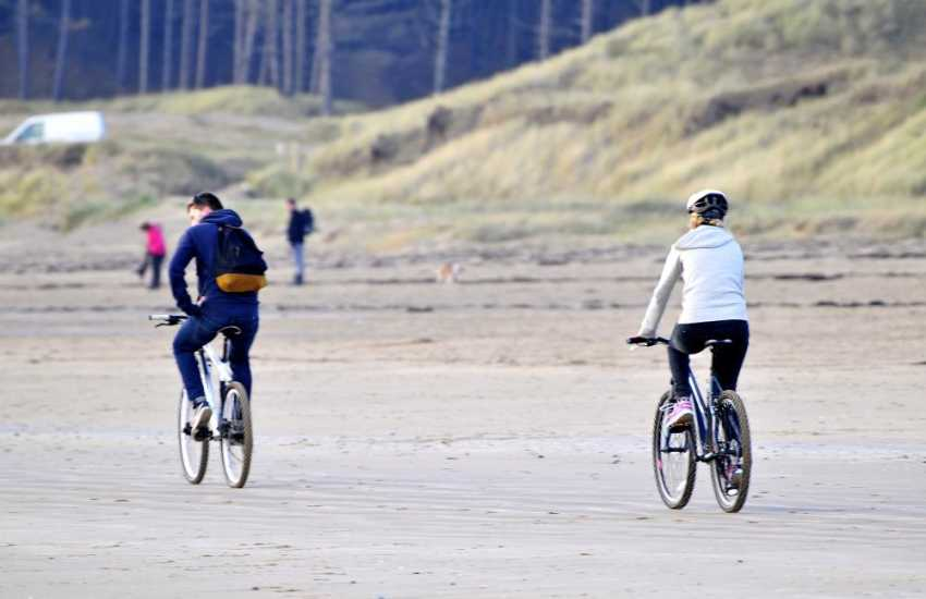 Cyclists at Newborough Warren, Anglesey