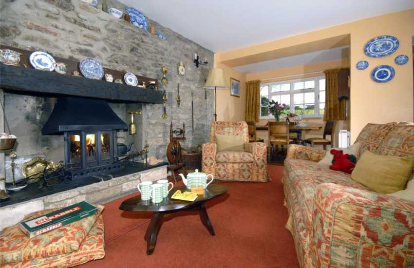 Holiday cottage, Solva - cosy lounge with wood-burning stove