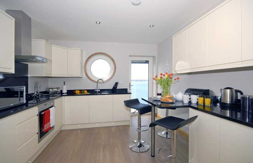 Self-catering first floor apartment South Pembrokeshire - luxury modern kitchen