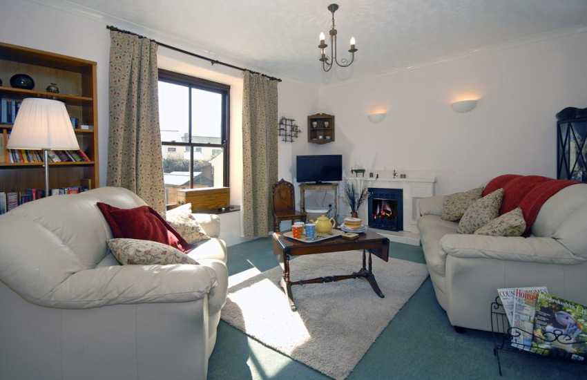 St Davids spacious holiday home - first floor lounge with gas fire