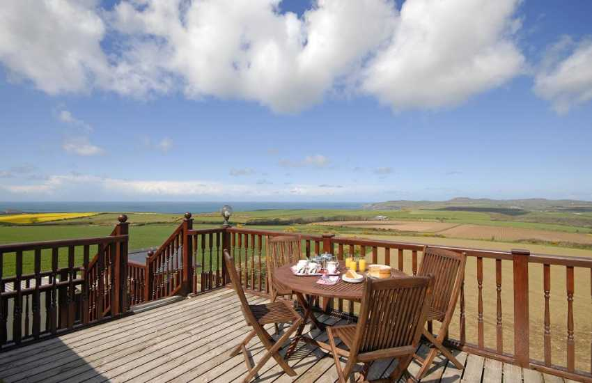 North Pembrokeshire coastal holiday home - deck with views to Strumble Head