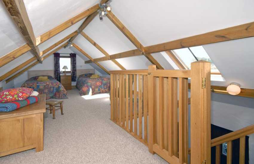 Abereiddy holiday cottage sleeping 4 - twin bedroom reached via staircase