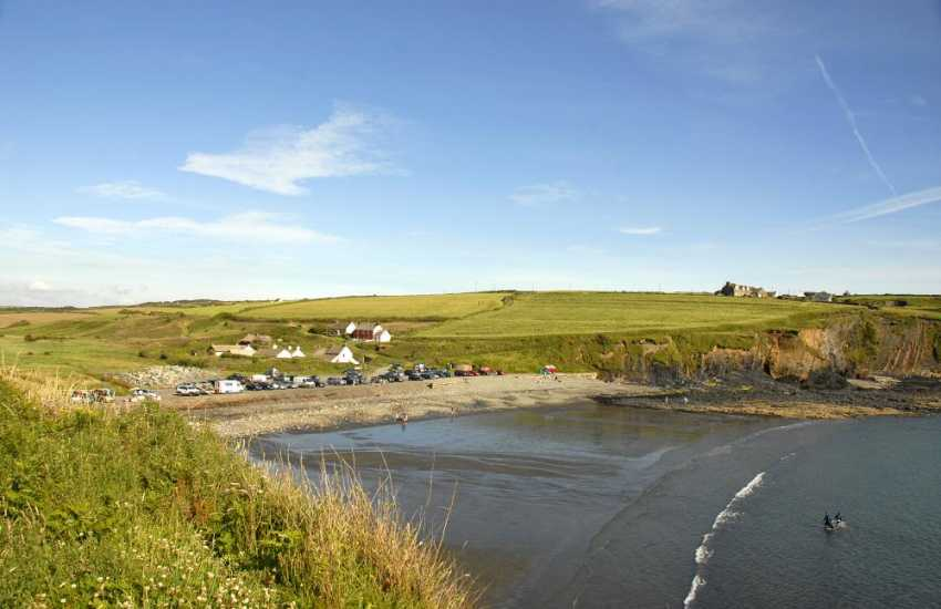 High tide at nearby Abereiddy Beach - a popular blue sand and shingle beach great for fossil hunting