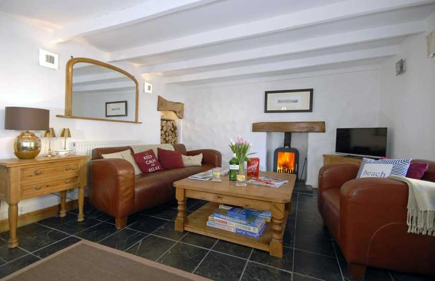 North Pembrokeshire holiday cottage - cosy sitting room with log burning stove